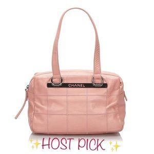 Chanel Chocolate Bar pink Caviar leather handbag